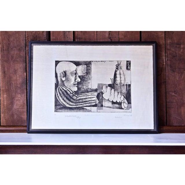 """""""Man with Lobster"""" Framed Intaglio Etching by Inanger, Munich, 1973 - Image 2 of 5"""