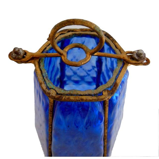 Image of Italian Blue Caged Murano Glass Pendant Light