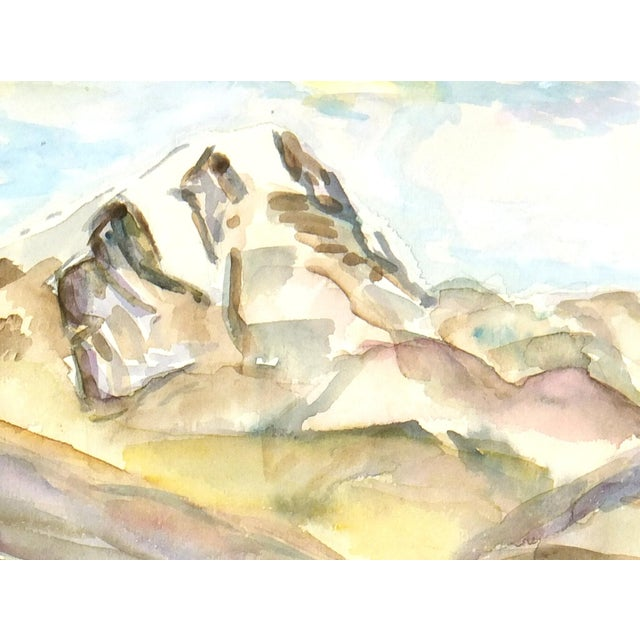 Vintage Watercolor Mountain Lake Painting - Image 2 of 3