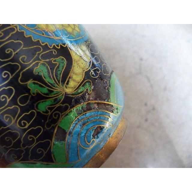 Black Dragon Cloisonne Vase - Image 3 of 4