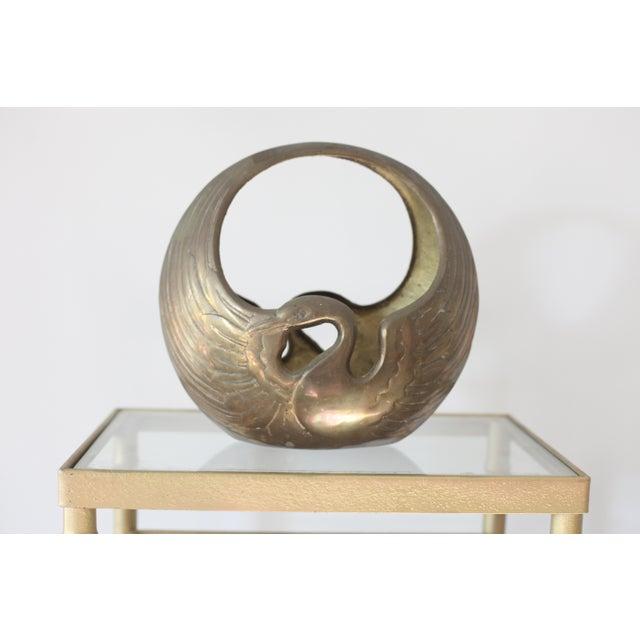 Image of Hollywood Regency Brass Swan Bowl