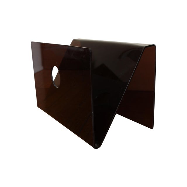 Mid Century Smoked Lucite Magazine Rack - Image 1 of 5