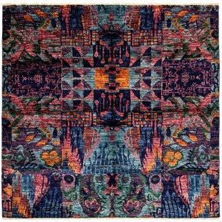 "Asian Inpsired Ikat Hand Knotted Square Rug - 5' 10"" X 5' 10"""