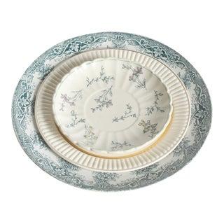 Vintage Green Floral China Plates- Set of 3