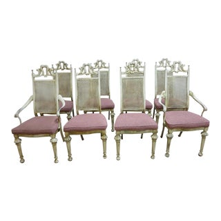 Vintage Cast Aluminum French Regency Carved Louis XV Dining Room Chairs - Set of 8