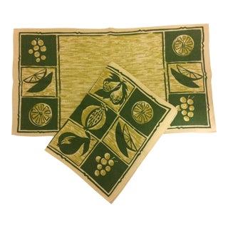 Vintage Linen Placemats & Napkins - Set of2