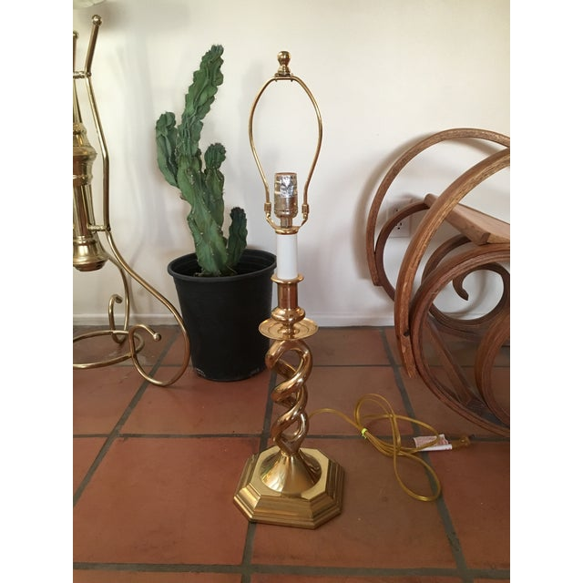 Image of Twisted Brass Table Lamp
