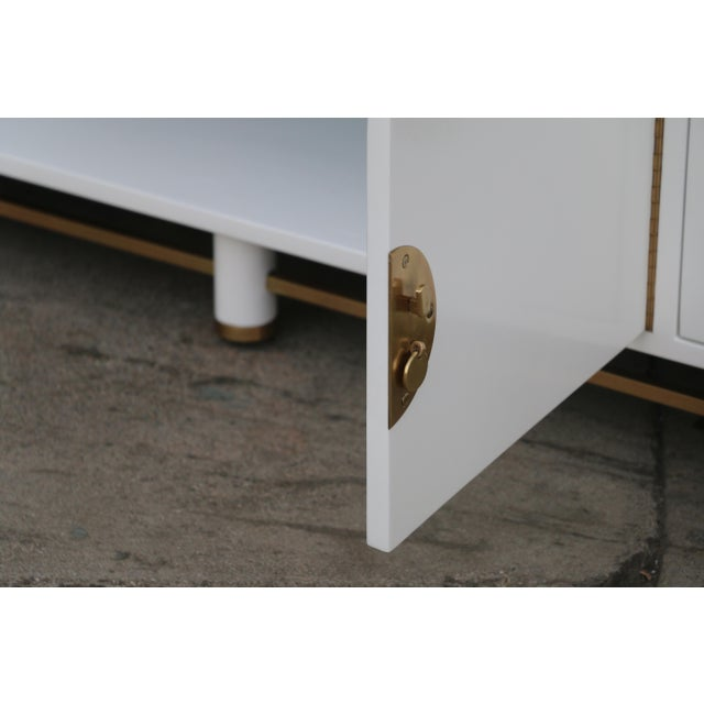 White Mid Century Oriental Low Credenza - Image 8 of 10