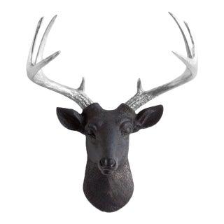 Wall Charmers Black + Silver Antler Faux Deer Head