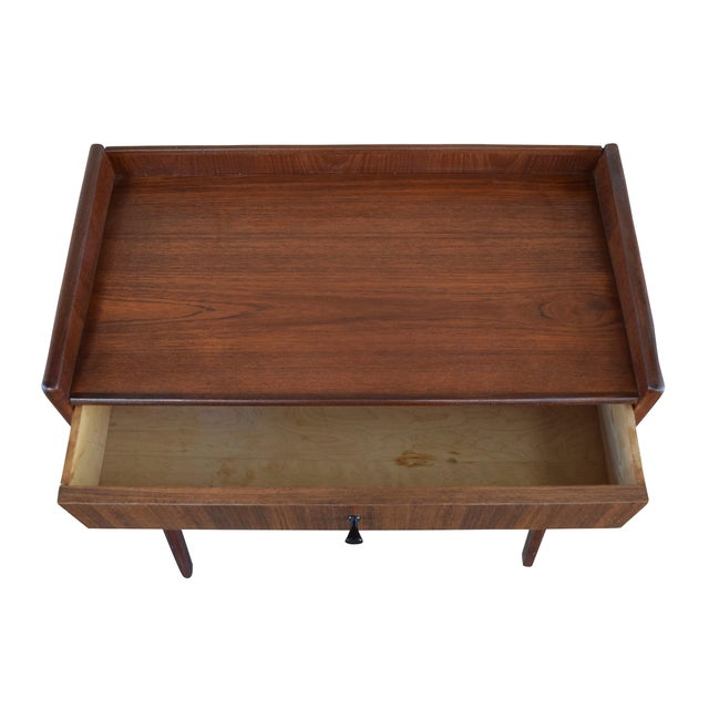 Mid Century Danish Modern Small Scale Drawer Coffee Table: 1960's Vintage Danish Mid-Century Modern Side Table