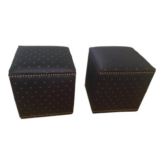 Upholstered Cubes With Brass Nail Heads - A Pair