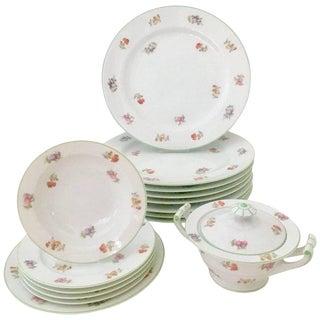 Vintage Japanese Floral Motif Dinnerware - Set of 17