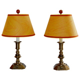 Vintage Brass Desk Lamps & Marble Shades - Pair