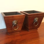 Image of Vintage Brass Lion Head Wood Planters - A Pair