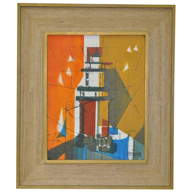 Mid-Century Modern Abstract Lighthouse Painting - Image 1 of 5