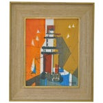 Image of Mid-Century Modern Abstract Lighthouse Painting