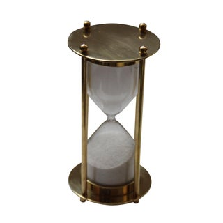 Transitional Brass Hourglass 5 Minute Sand Timer