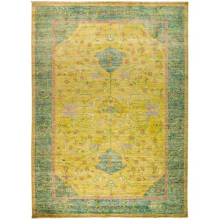 """New Yellow Hand-Knotted Rug 10' 2"""" X 13' 9"""""""