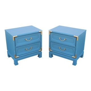 Mid Century Campaign Style Nightstands - A Pair -1960's Nightstands
