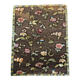 Custom Brown Floral Wool and Silk Area Rug - 10′11″ × 12′5″