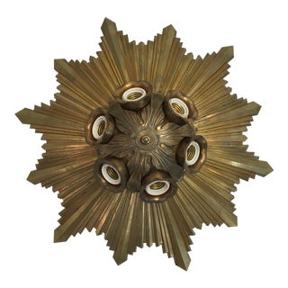 Deco Era Sunburst Brass Light Fixture
