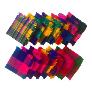 Vintage Multicolor Square Table Napkins - Set of 14