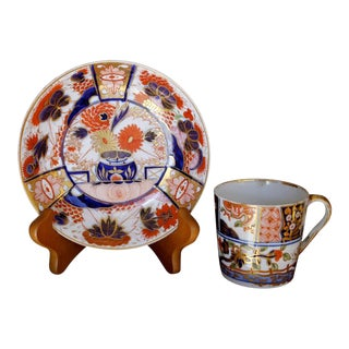 Worcester Early 19th Century Gilt Imari Saucer Spode Demitasse Cup - A Pair