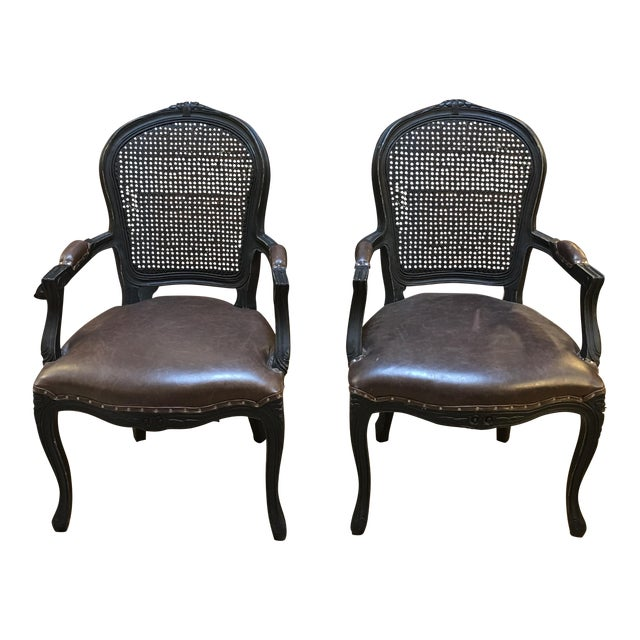 French black cane brown leatherette arm chairs a pair