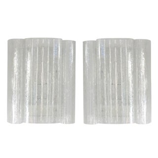 Pair of Mid-Century Modern Doria Leuchten Wall Sconces in Clear Eisglas
