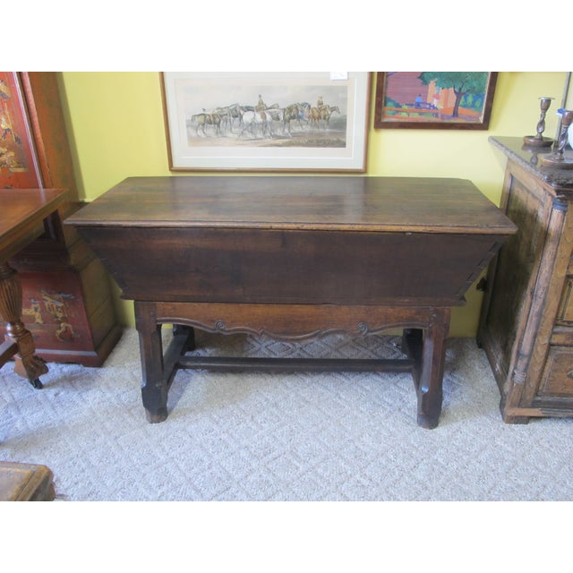 18th c french bread dough box table chairish for Table th width ignored