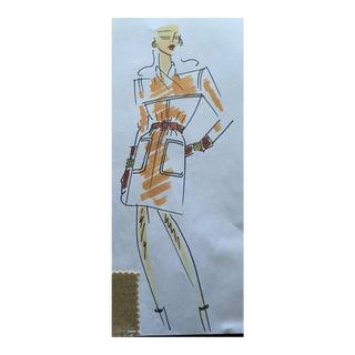 Givenchy Orange Belted Dress Croquis Fashion Sketch