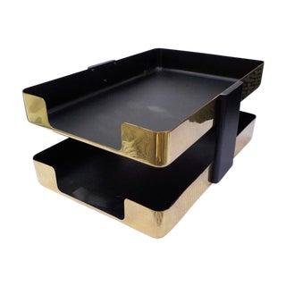 Mid-Century Modern Brass Paper Desk Organizer