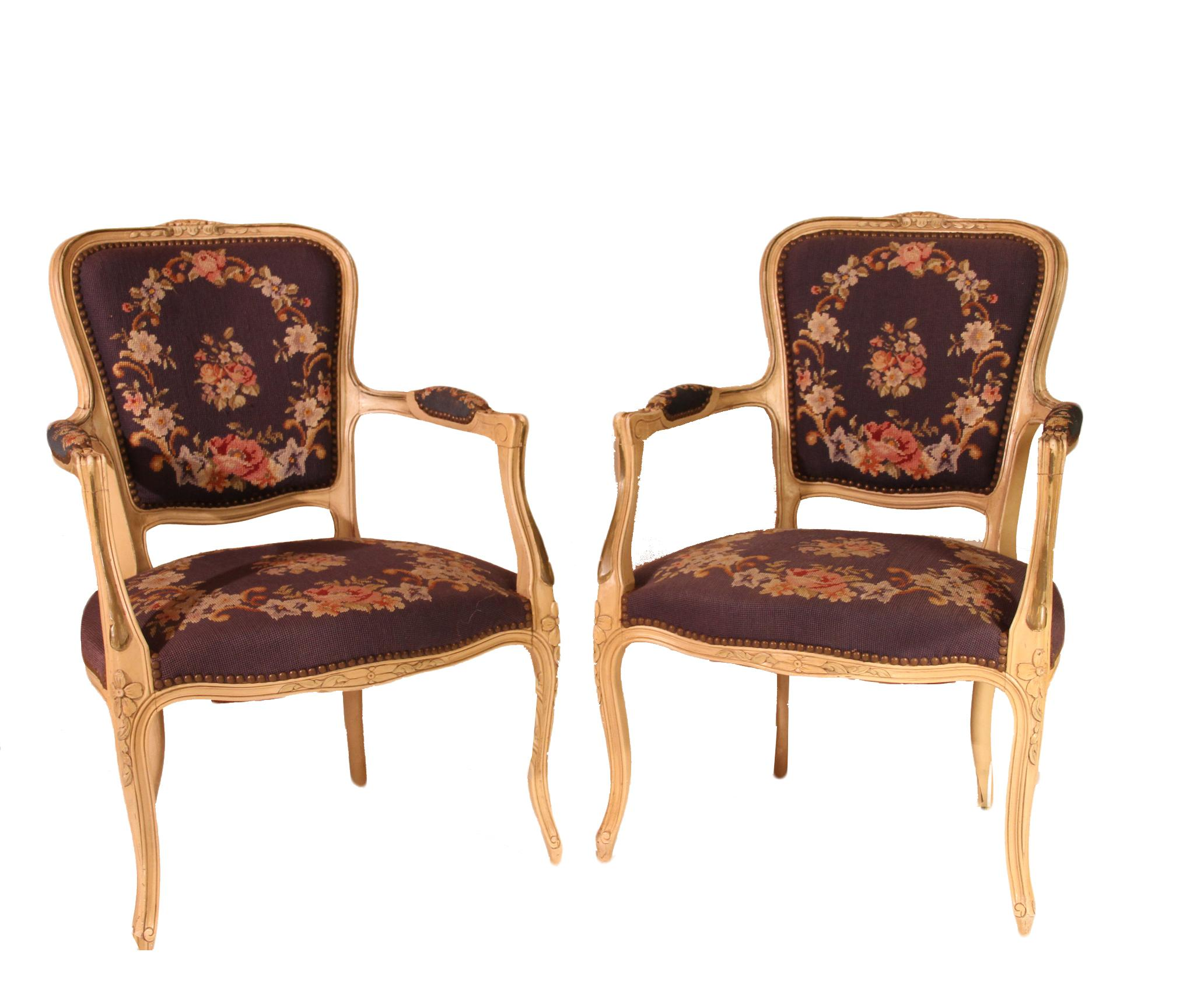Antique French Louis XV Needlepoint Chairs   A Pair   Image 4 Of 6