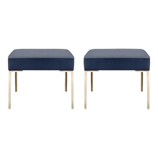 Astor Brass Ottomans in Midnight Luxe Suede by Montage, Pair