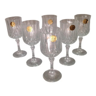 French Crystal Wine Glasses - Set of 6