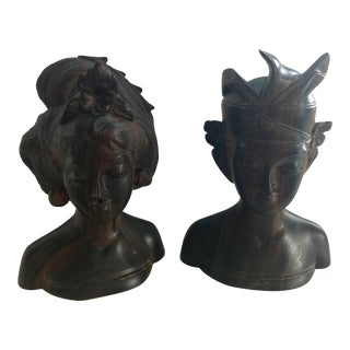 Vintage Balinese Man & Woman Rosewood Sculptures