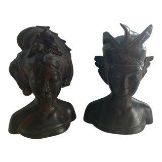 Vintage Balinese Man & Woman Rosewood Sculptures