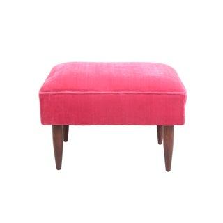 Vintage Mid-Century Modern Hot Pink Velvet Ottoman