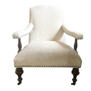 White Velvet Armchair with Nail Head Trim