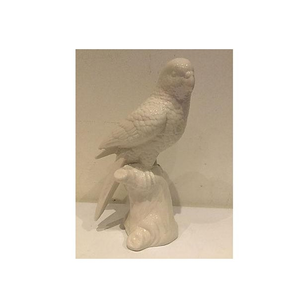 Image of White Porcelain Parrot Figurine