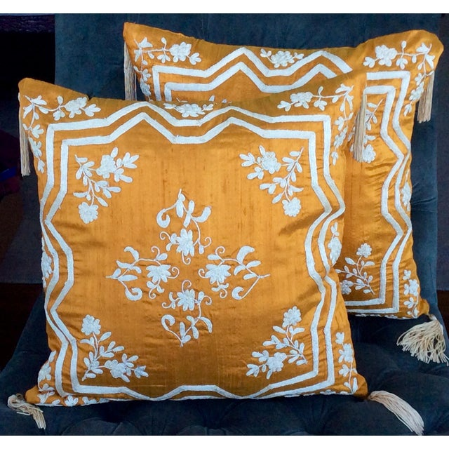 Embroidered Silk Accent Pillow Covers - A Pair - Image 2 of 4