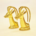 Image of Vintage Brass Ibex Bookends - Pair