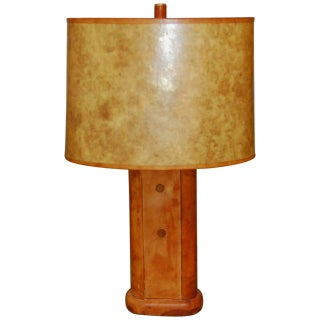 Haines Style Art Deco Patinated Leather Table Lamp