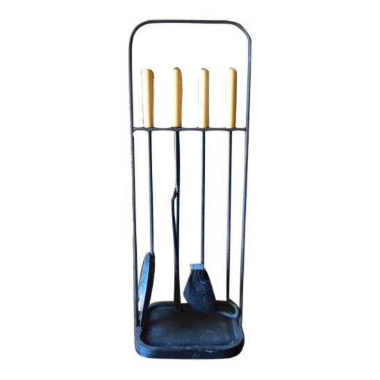 Vintage Modernist Iron Birch Fireplace Tool Set - Image 1 of 6