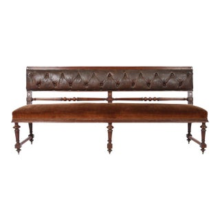 French Mahogany Bench With Velvet Seat and Leather Back