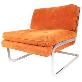 Milo Baughman Style Mid-Century Cantilever Slipper Chair