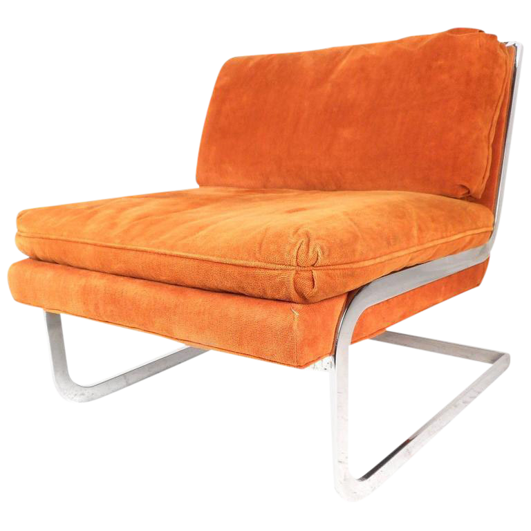 Milo Baughman Style Mid Century Cantilever Slipper Chair