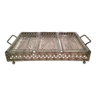 Mid-Century Modern Three Part Divided Server & Metal Caddy