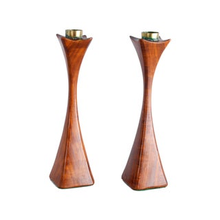 Solid Wood & Brass Candleholders - A Pair