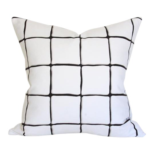 """Painted Check Ink Pillow Cover 17"""" - Image 1 of 3"""
